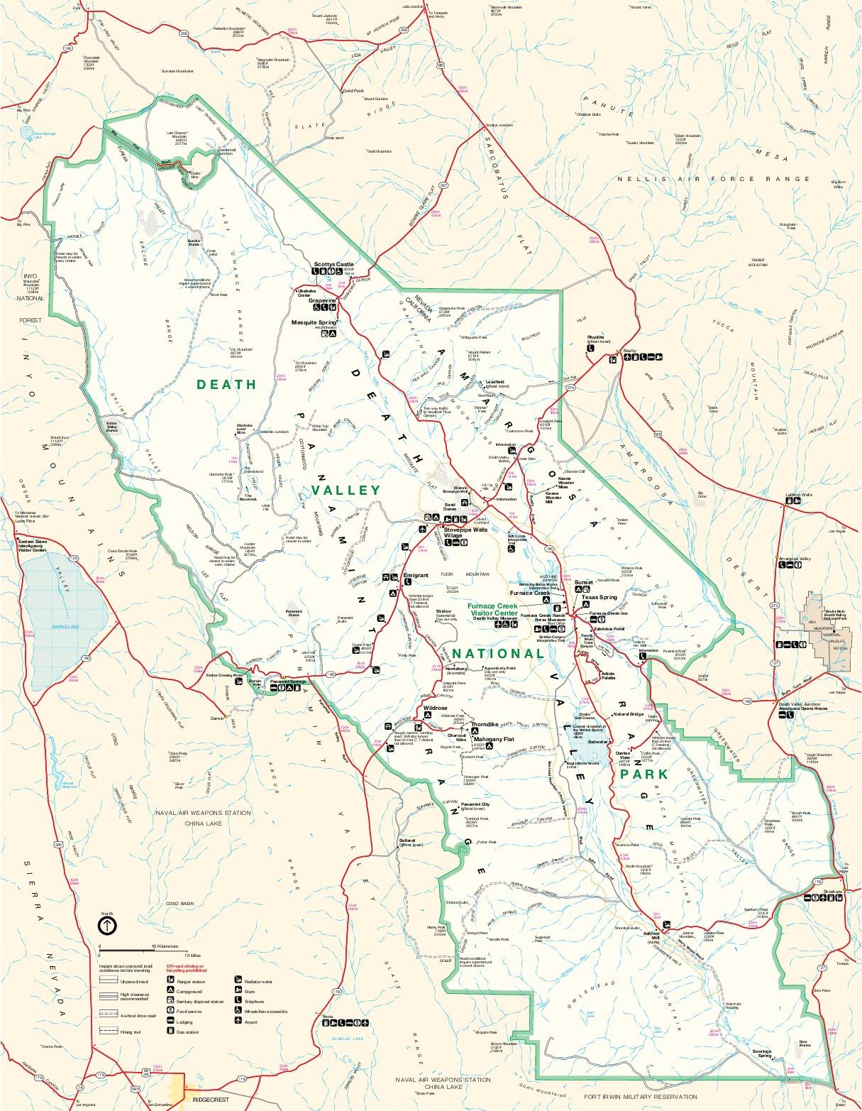 Mapa del Parque Nacionalath Valle, California y Nevada, Estados Unidos
