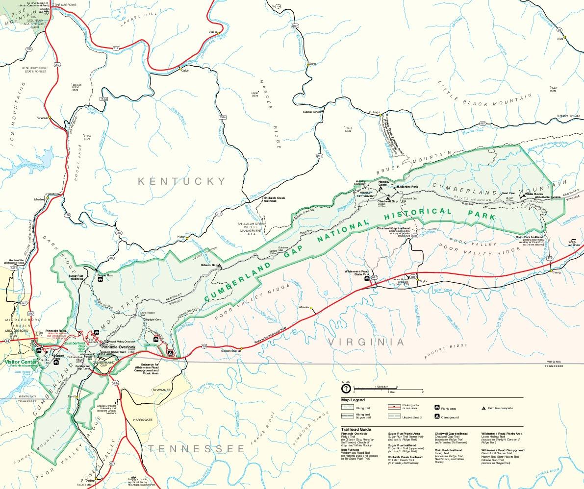 Mapa del Parque National Histórico Cumberland Gap, Kentucky, Tennessee, Virginia
