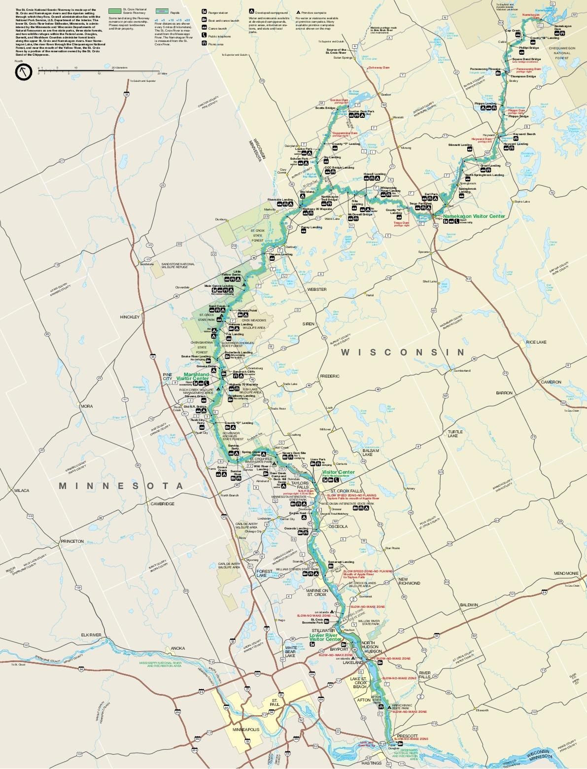 Mapa del Parque Río Escénico Nacional Saint Croix, Minnesota, Wisconsin, Estados Unidos