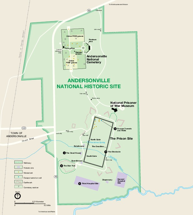 Mapa del Parque Sitio Histórico Nacional Andersonville, Georgia, Estados Unidos