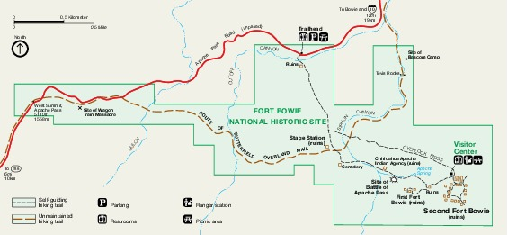 Mapa del Parque Sitio Histórico Nacional Fort Bowie, Arizona, Estados Unidos