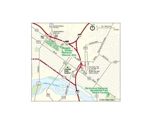 Mapa del Parque Sitio Histórico Nacional Maggie L Walker, Virginia, Estados Unidos
