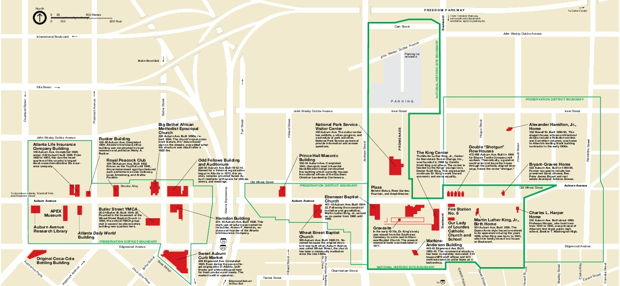 Mapa del Parque Sitio Histórico Nacional Martin Luther King Jr., Georgia, Estados Unidos