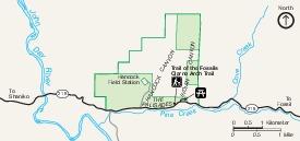 Mapa del Parque de Clarno Unit, Monumento Nacional John Day Fossil Beds, Oregón, Estados Unidos