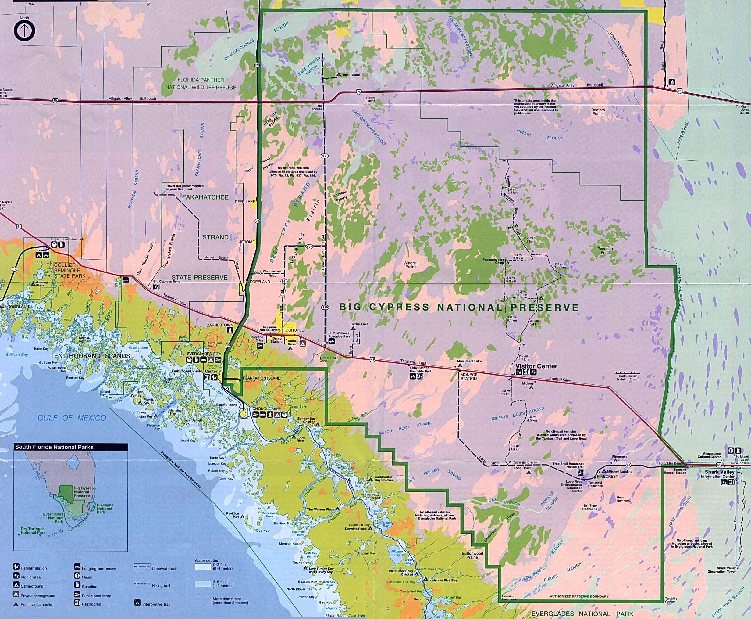 Mapa del Parque de la Reserva Natural Nacional Big Cypress, Florida, Estados Unidos