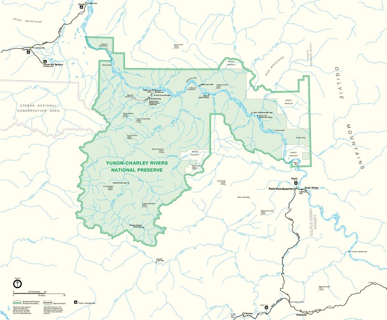 Mapa del Parque de la Reserva Natural Nacional  Yukon Charley Rivers, Alaska, Estados Unidos