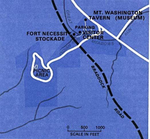 Mapa del Parque del Campo de Batalla Nacional Fort Necessity, Pensilvania, Estados Unidos