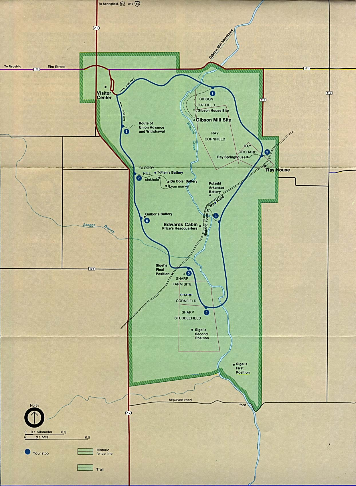 Mapa del Parque del Campo de Batalla Nacional Wilson's Creek, Missouri, Estados Unidos