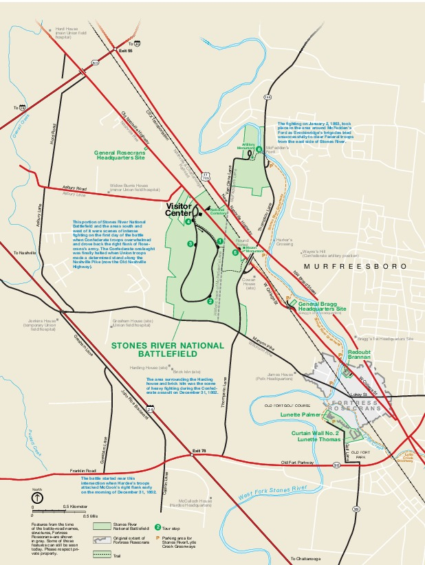 Stones River National Cemetery Park Map, Tennessee, United States