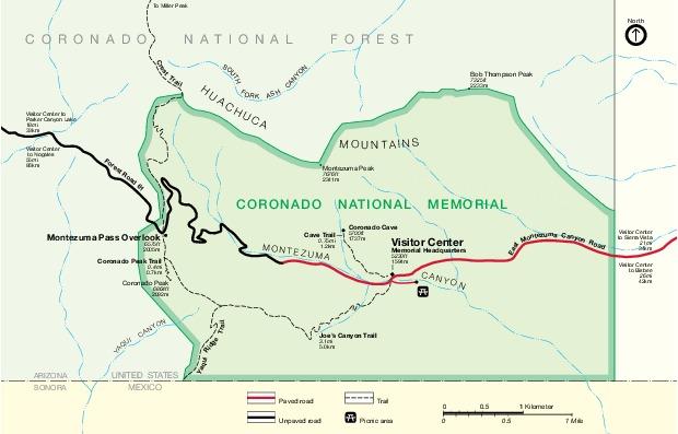 Mapa del Parque del Memorial Nacional Coronado, Estados Unidos