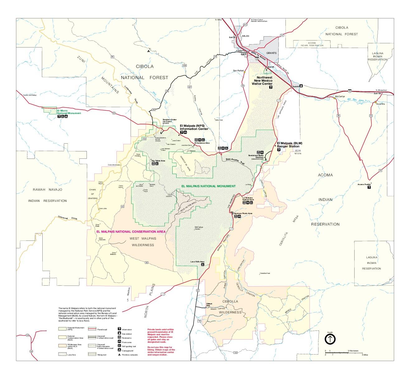 Mapa del Parque del Monumento Nacional El Malpais, Nuevo México, Estados Unidos