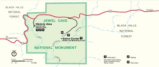 Mapa del Parque del Monumento Nacional Jewel Cave, Dakota del Sur, Estados Unidos