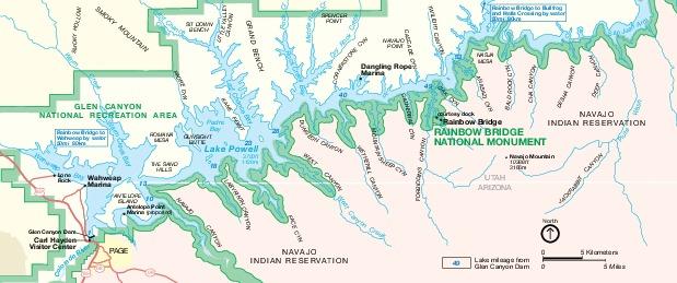 Mapa del Parque del Monumento Nacional Puente Arco Iris, Arizona, Estados Unidos