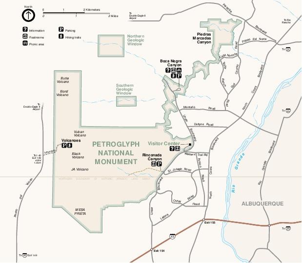 Mapa del Parque del Monumento Nacional de Petroglifos, Nuevo México, Estados Unidos