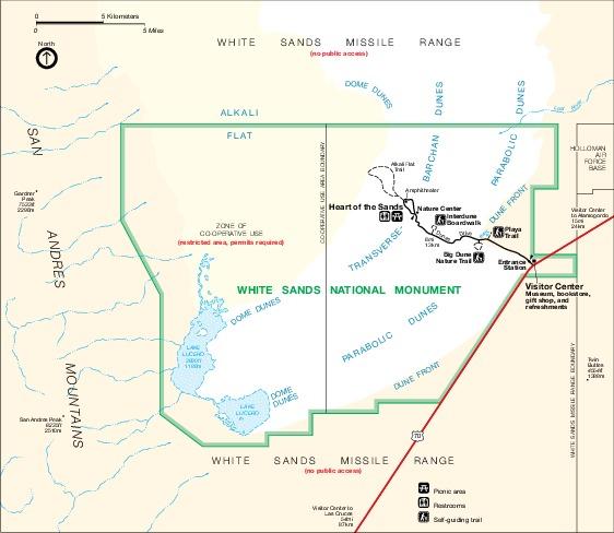 Mapa del Parque del Monumento Nacional de White Sands, Nuevo México, Estados Unidos