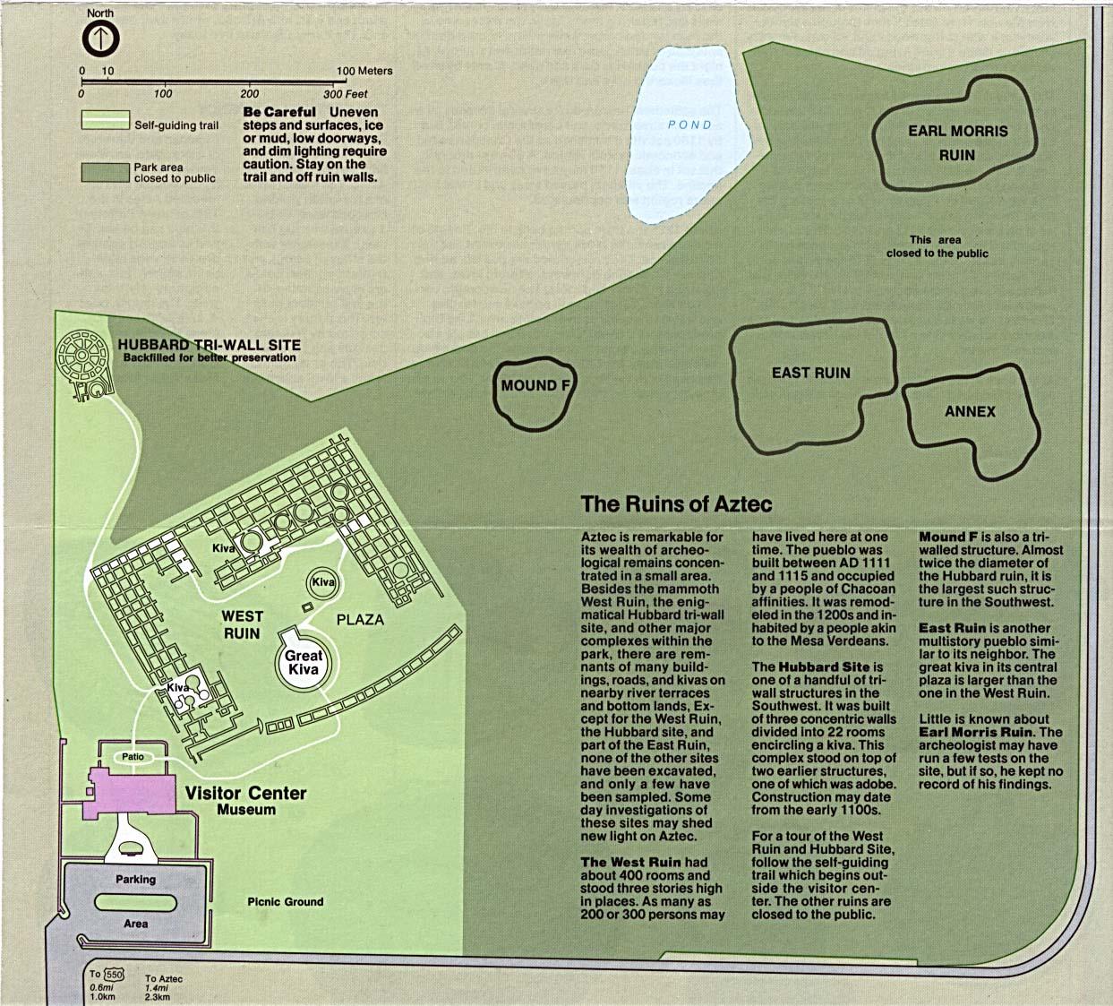 Mapa del Parque del Monumento Nacional de las Ruinas Aztecas, Nuevo México, Estados Unidos