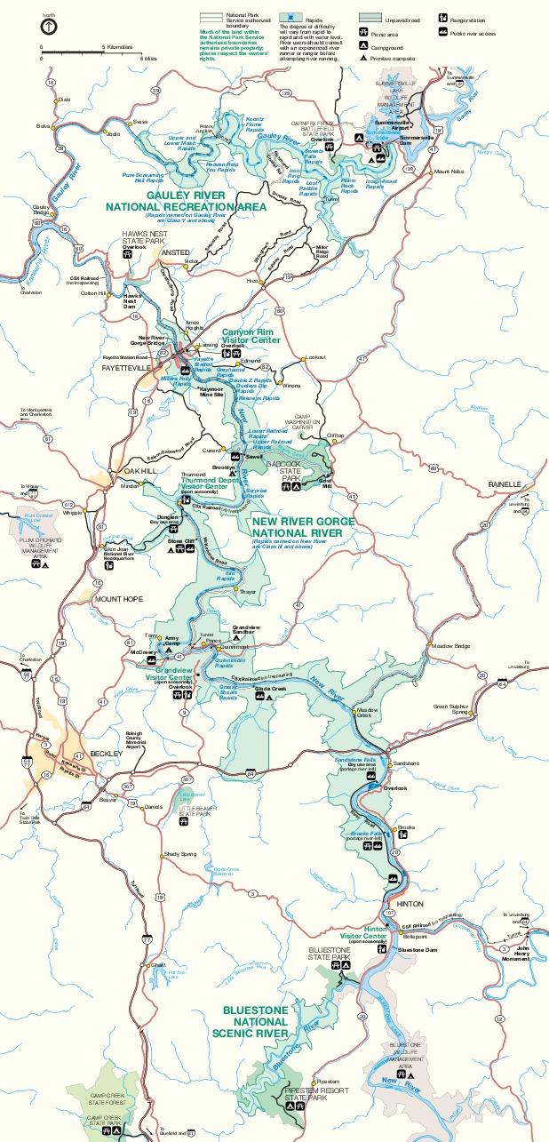 Mapa del Parque del Río Nacional New River Gorge, Virginia Occidental, Estados Unidos