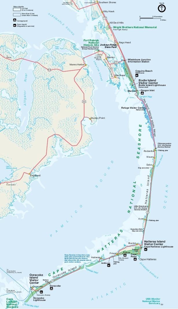 Mapa del Parque del Área Marina Costera Protegida de Cape Hatteras, Carolina del Norte, Estados Unidos