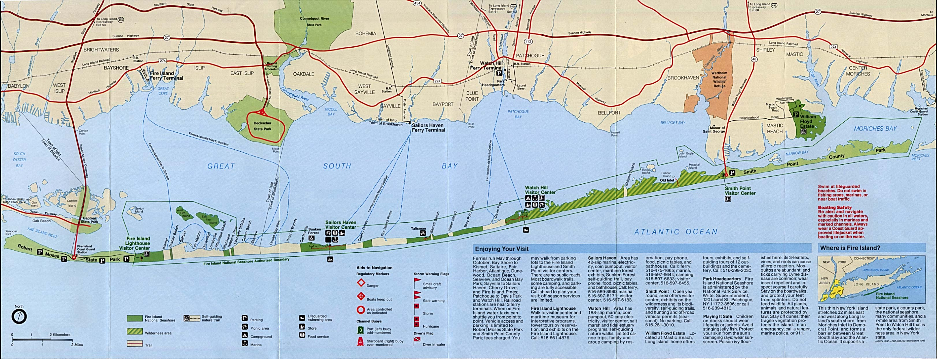 Park Map of Fire Island National Seashore, New York, United States