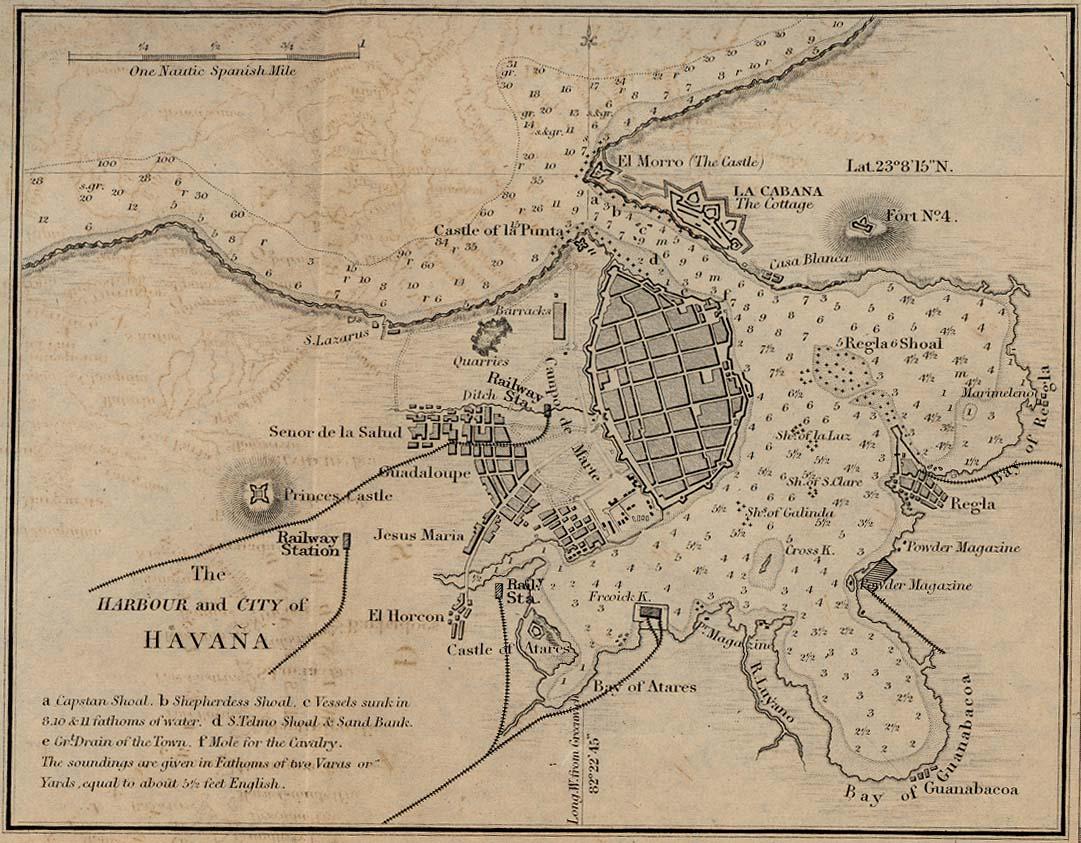 Mapa del Puerto y de la Ciudad de La Havana, Cuba 1882