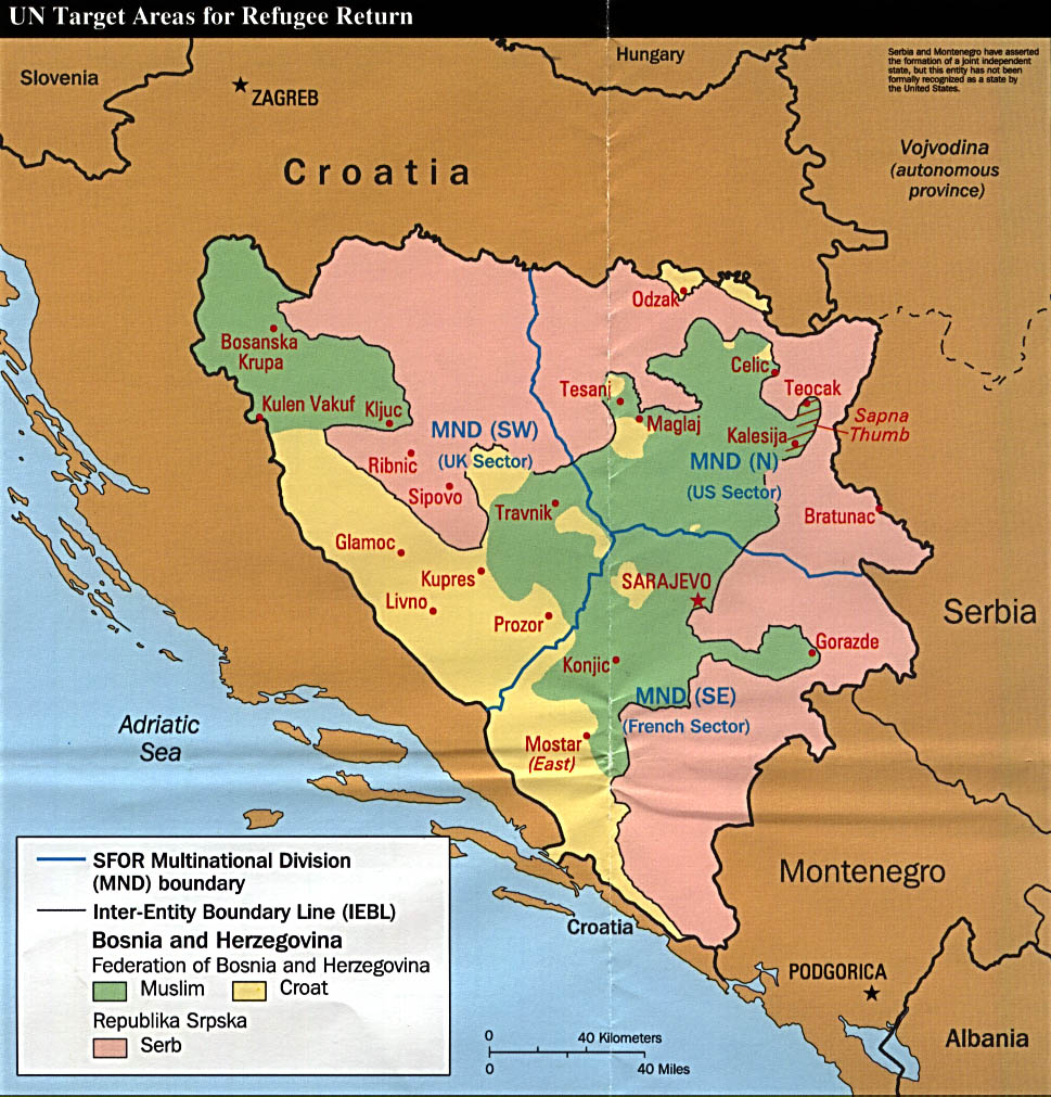 Mapa del Retorno de los Refugiados, Bosnia y Herzegovina