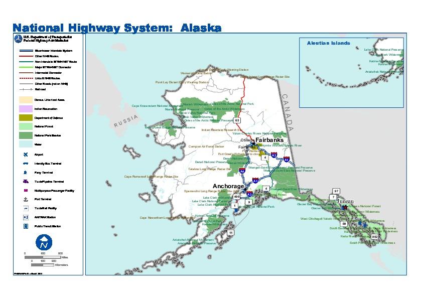 Mapa del Sistema Nacional de Carreteras de Alaska, Estados Unidos