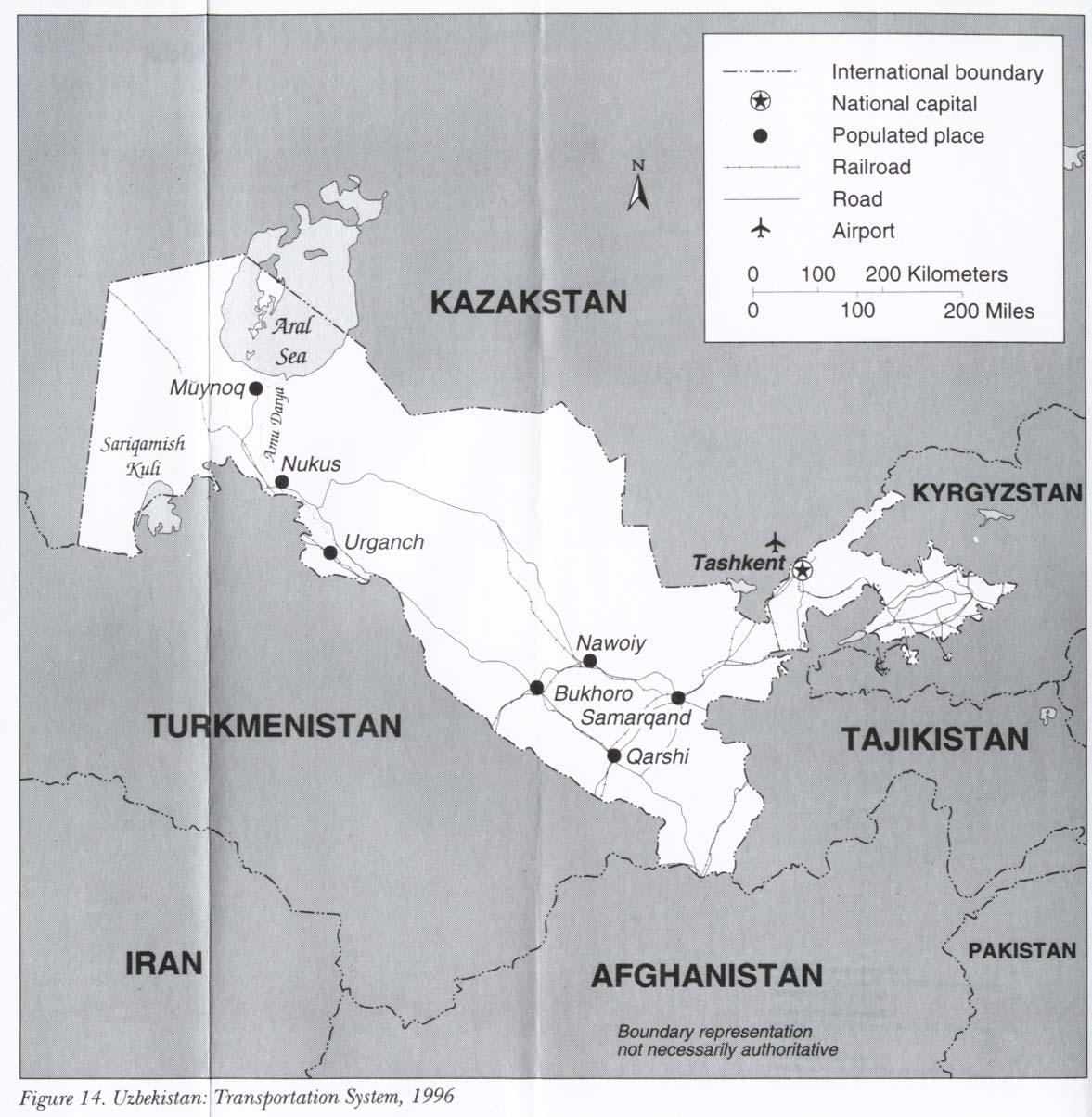 Uzbekistan Transportation System Map