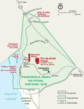 Mapa del Sitio Histórico Nacional Puukohola Heiau, Hawái, Estados Unidos