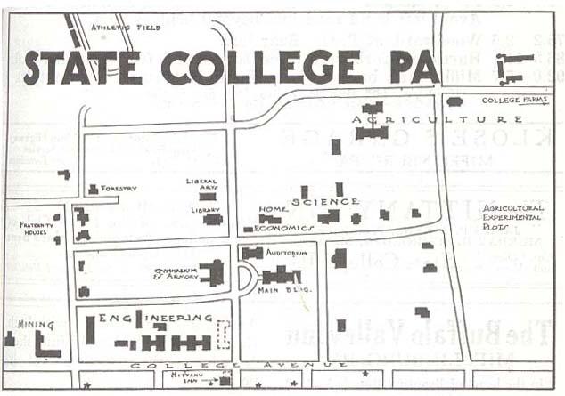 Mapa del State College, Pensilvania, Estados Unidos 1920