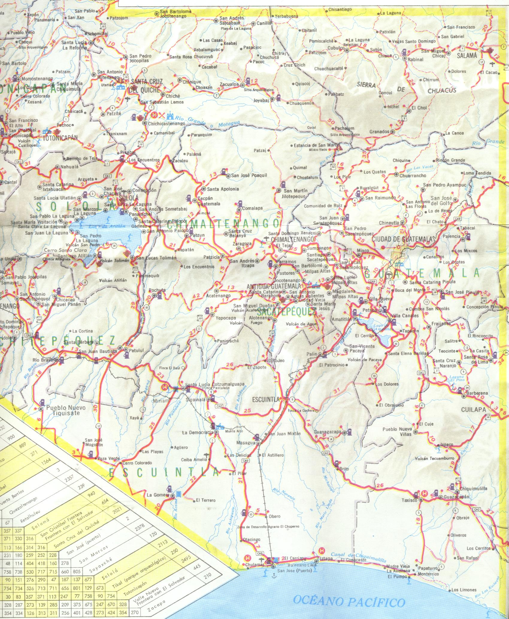 Mapa del Sur Central de Guatemala
