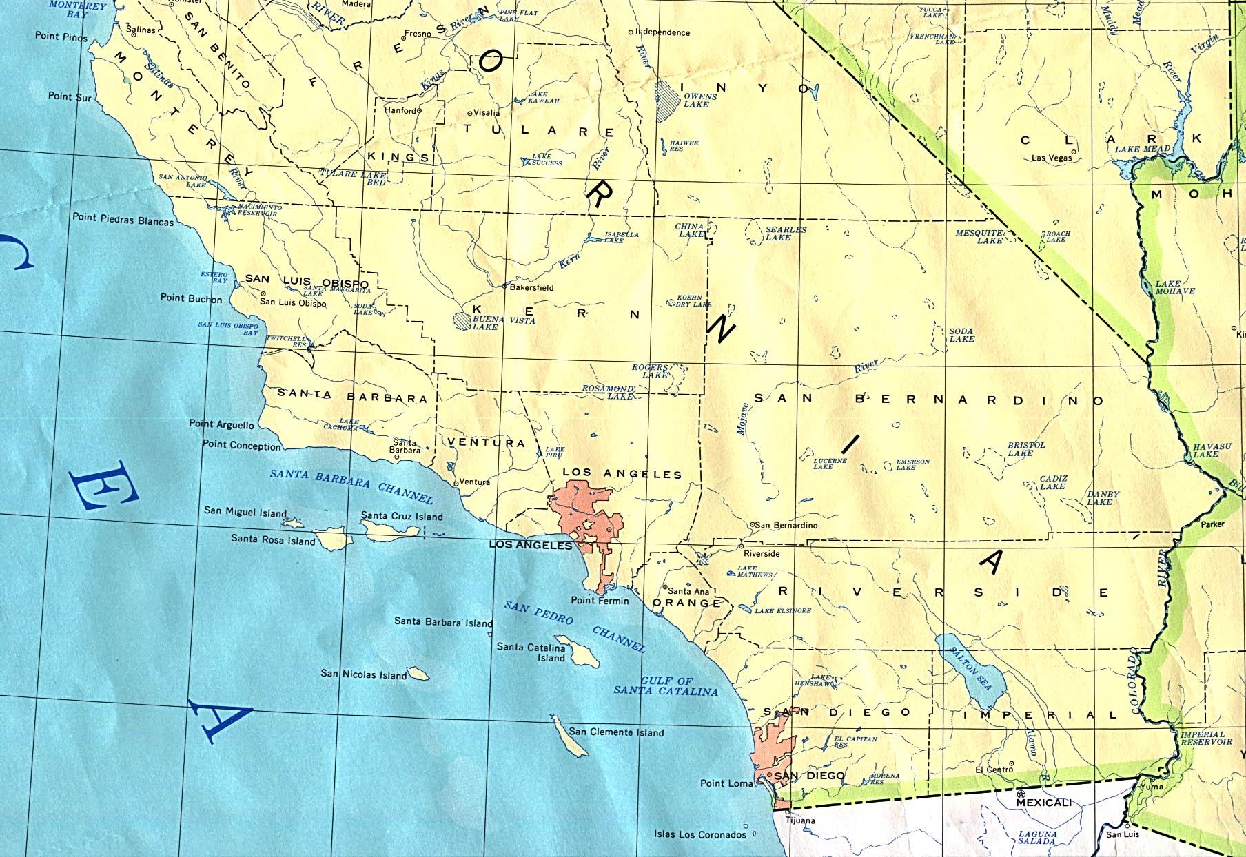 Mapa del Sur del Estado de California, Estados Unidos