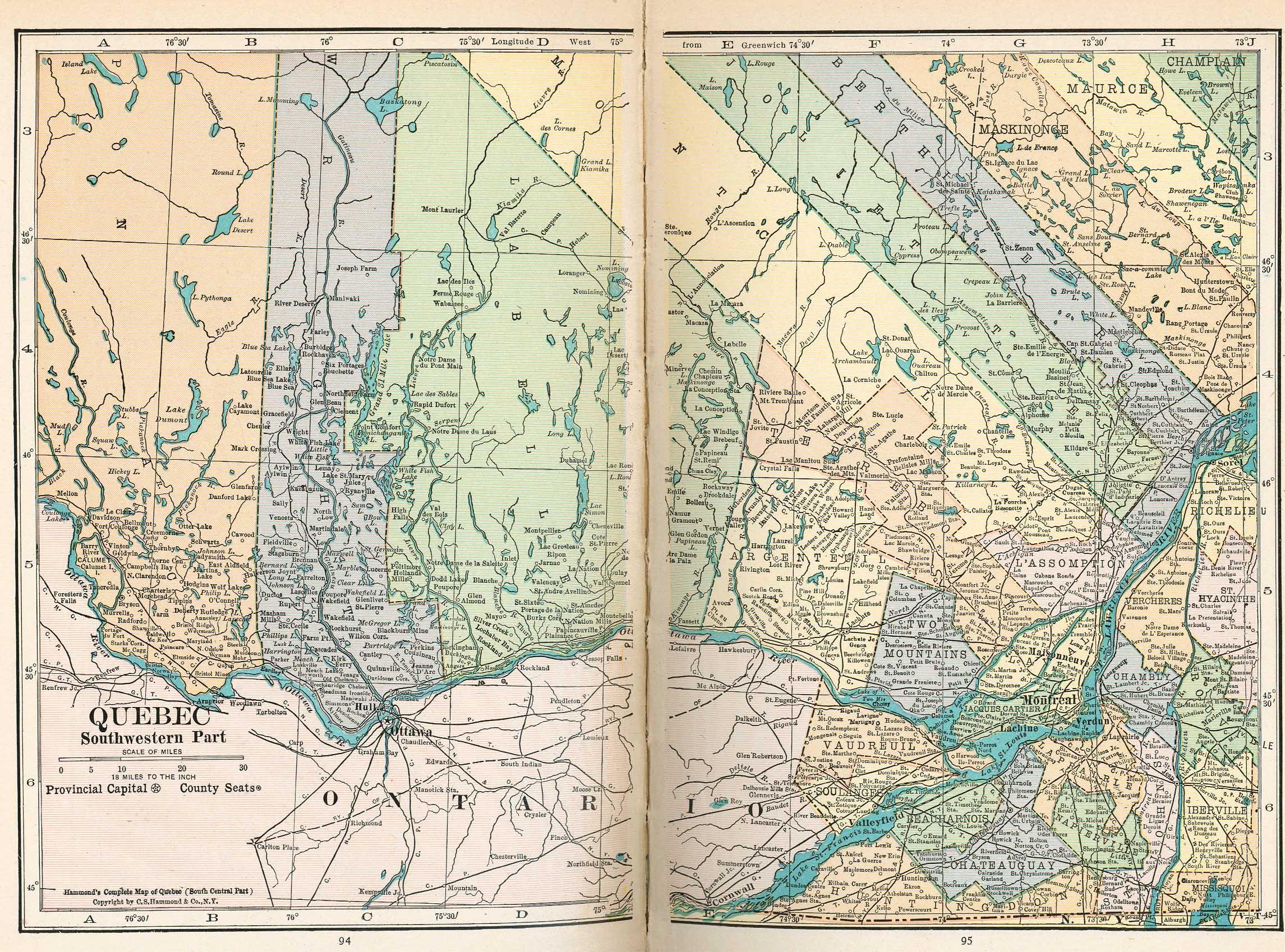 Mapa del Suroccidente de Quebec, Canadá 1921