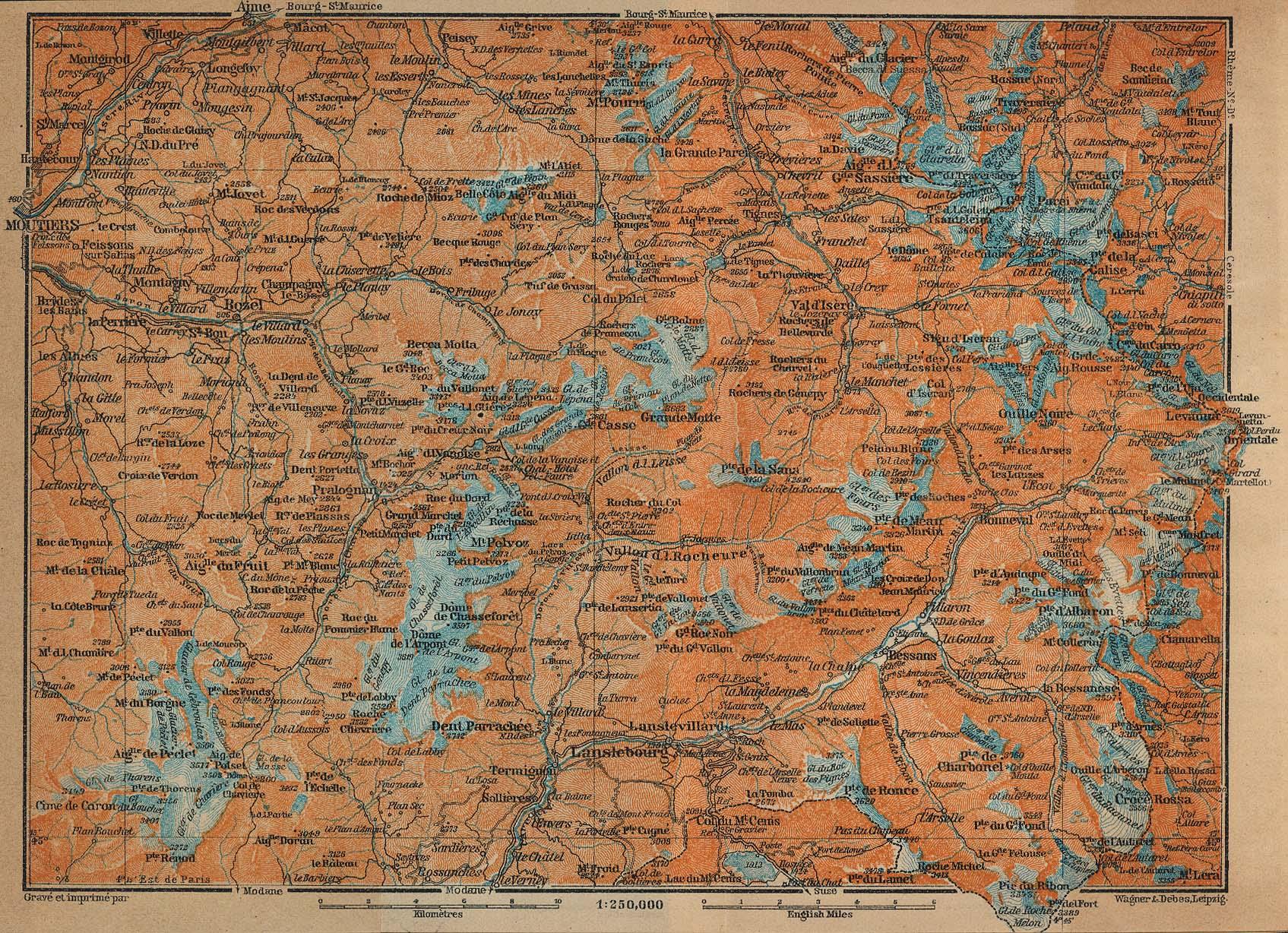Mapa del Tarentaise y Maurienne, Francia 1914