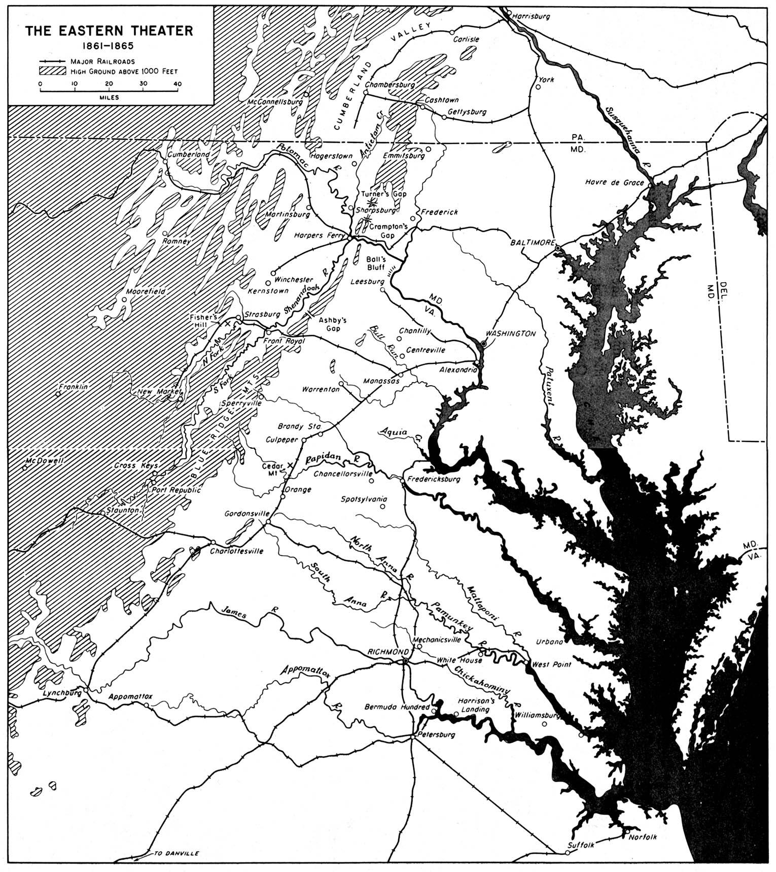 Mapa del Teatro Oriental, Guerra Civil Estadounidense  1861 - 1865