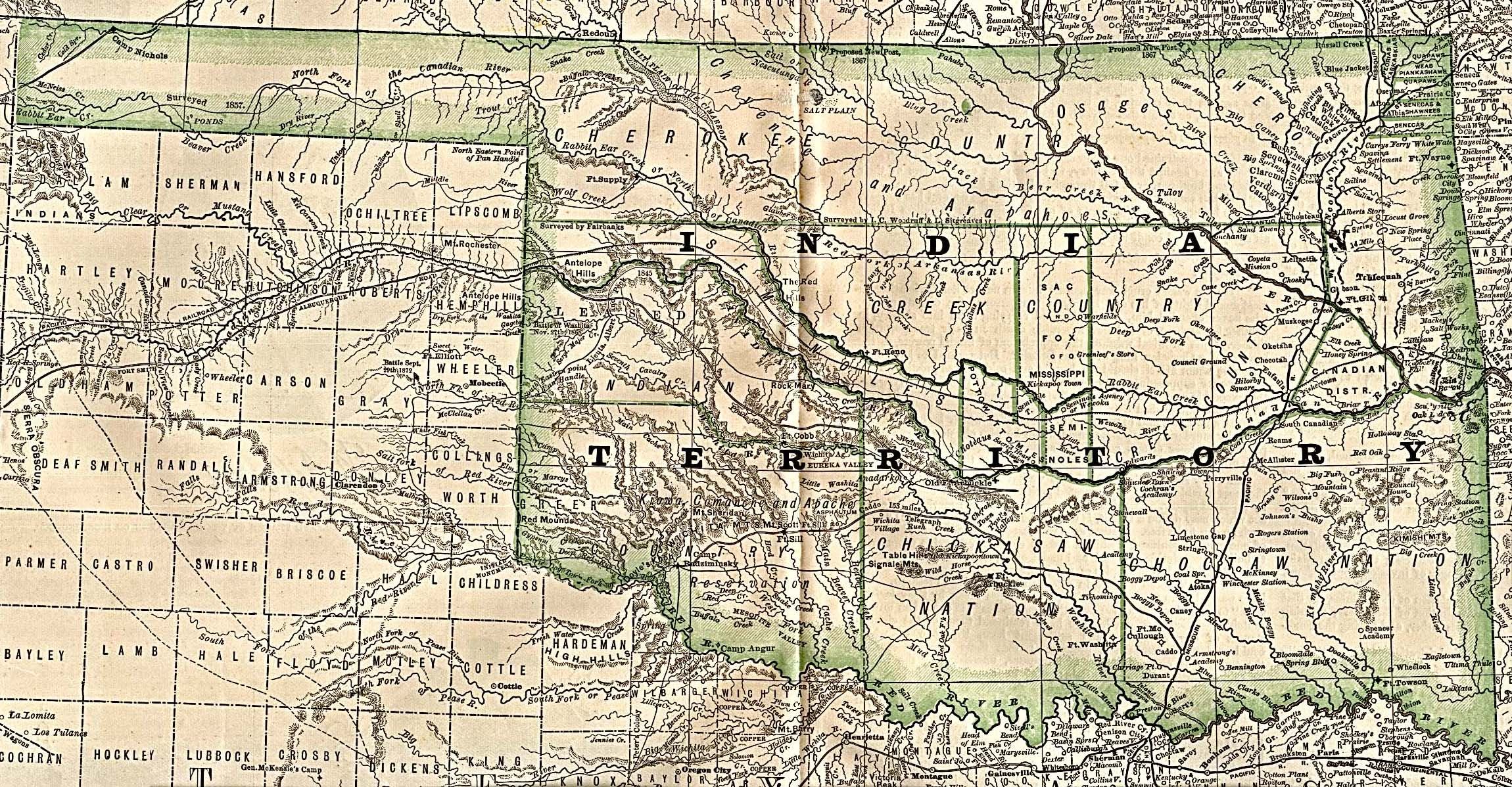 Indian Territory (Oklahoma) Map 1884