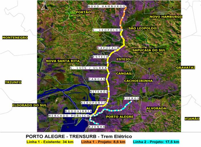 Mapa del Tren Electrico de Porto Alegre, Brasil