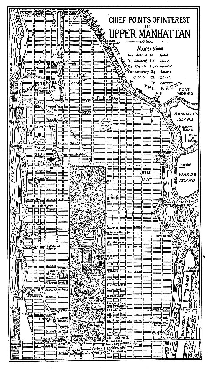 Upper Manhattan Map, New York City, New York, United States 1920