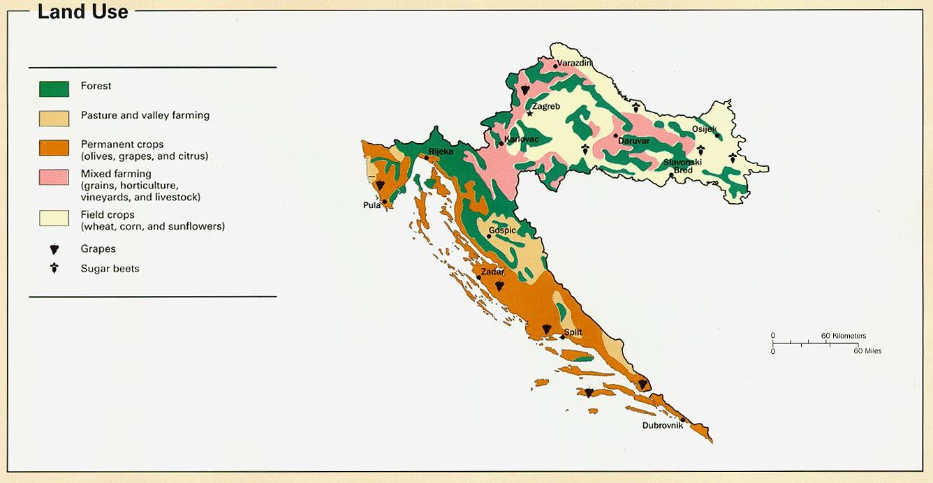 Mapa del Uso de la Tierra de Croacia