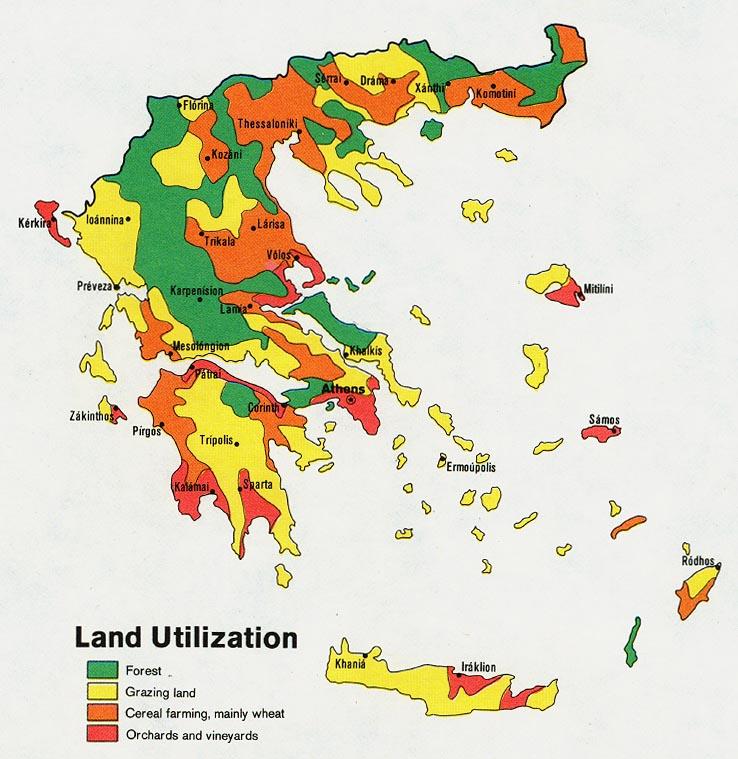 Mapa del Uso de la Tierra de Grecia
