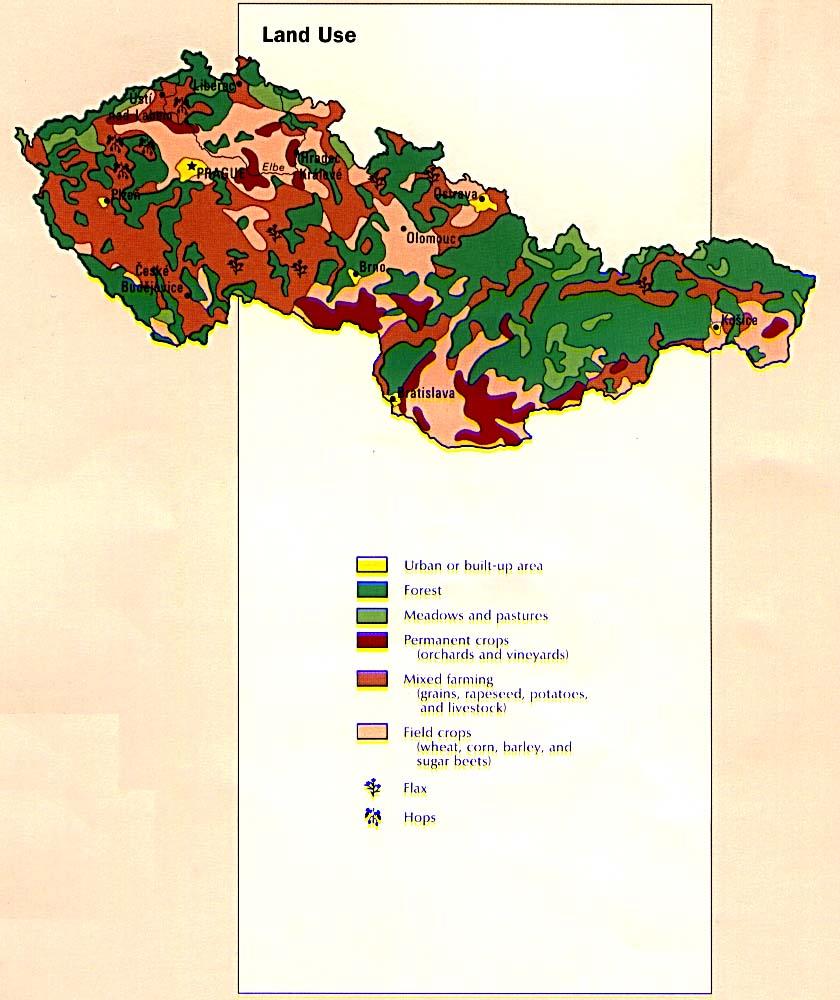 Mapa del Uso de la Tierra de la Ex Czechoslovakia