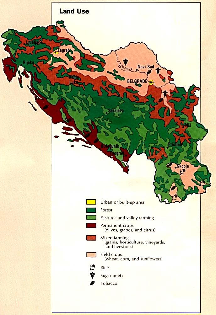 Mapa del Uso de la Tierra de la Ex Yugoslavia