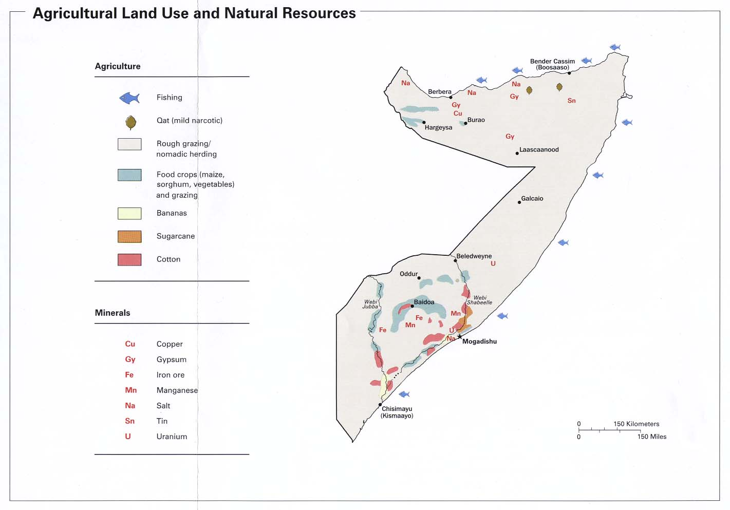 Somalia Agricultural Land Use and Natural Resources Map