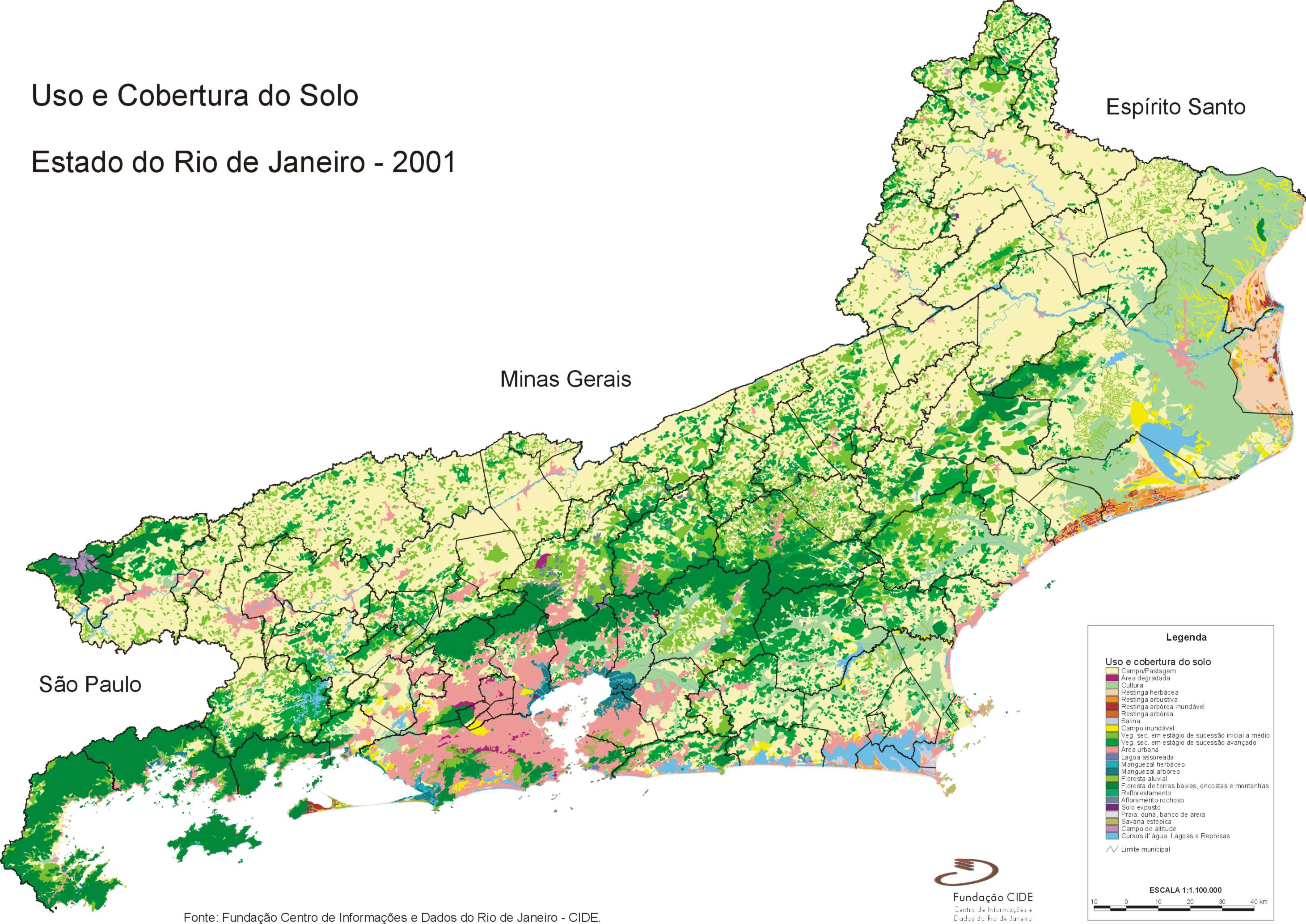 Mapa del Uso y/o Cobertura del Suelo, Edo. Rio de Janeiro, Brasil