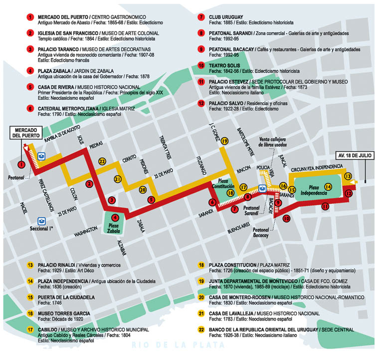 Mapa del Viejo Montevideo, Uruguay