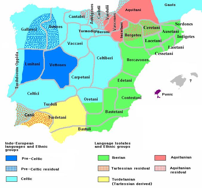 Mapa etnográficos y lingüísticos de la Península Ibérica circa 200 aC
