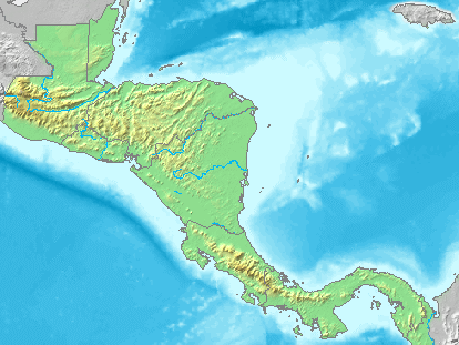 Central America physical map 2007