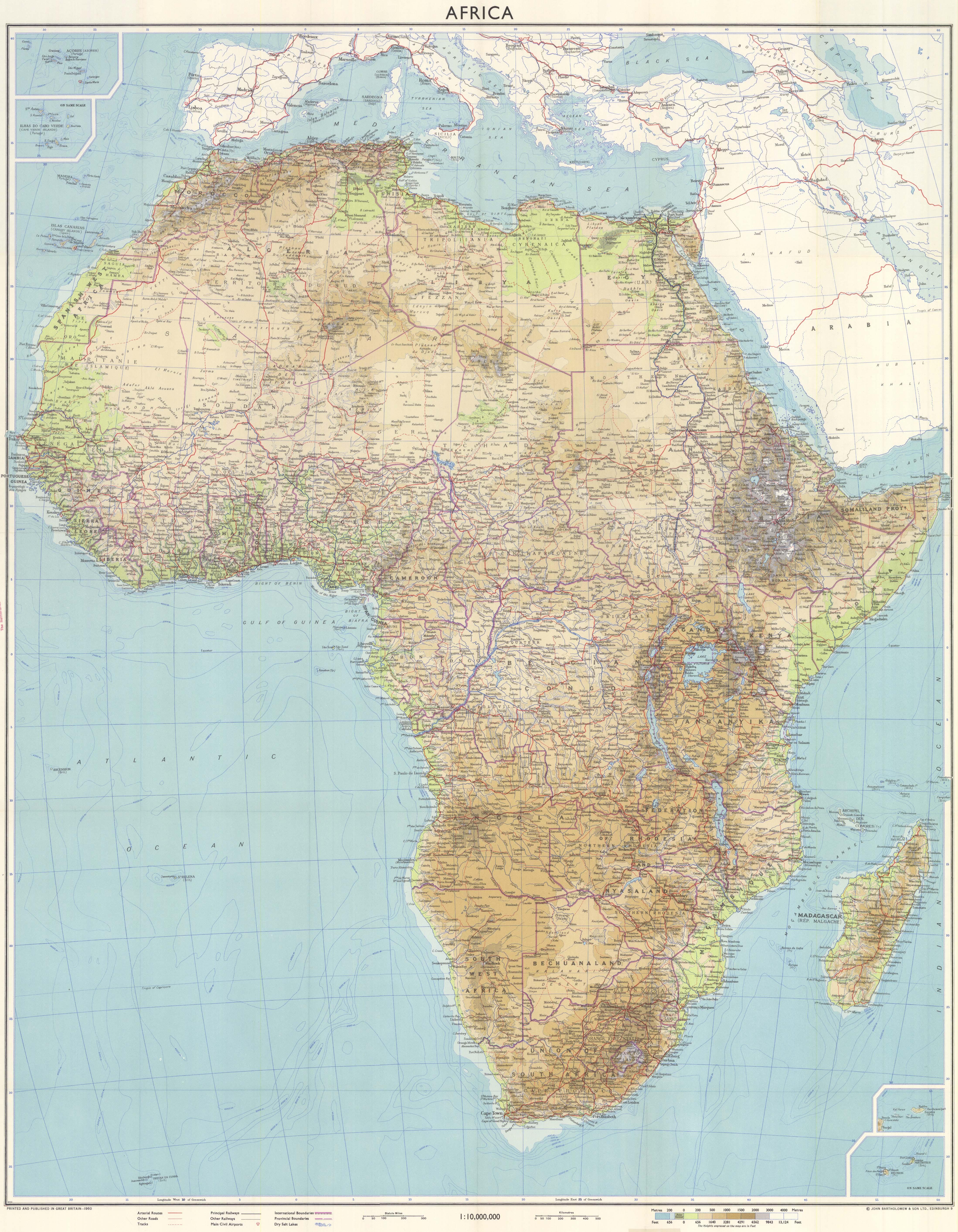 Mapa físico de África 1960