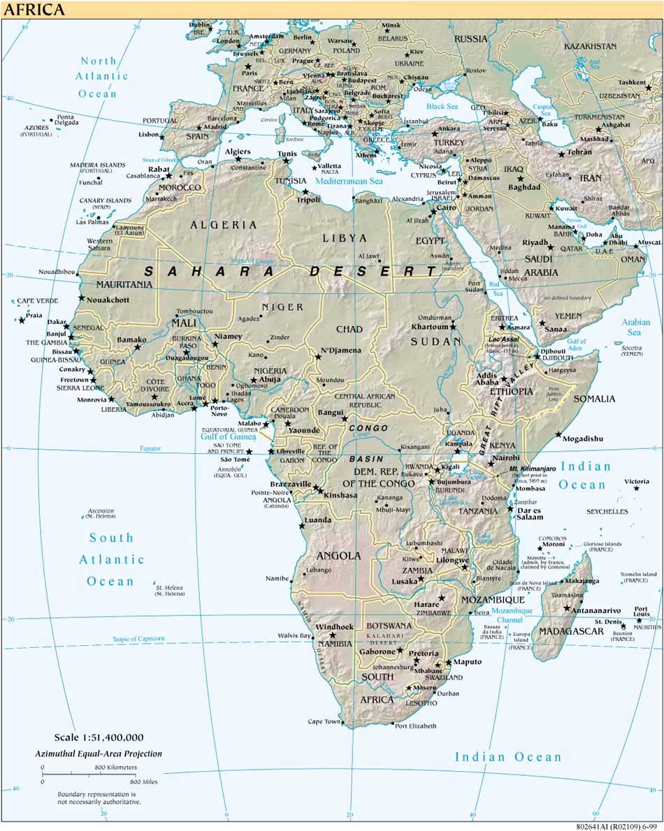 Africa Shaded Relief Map 1999
