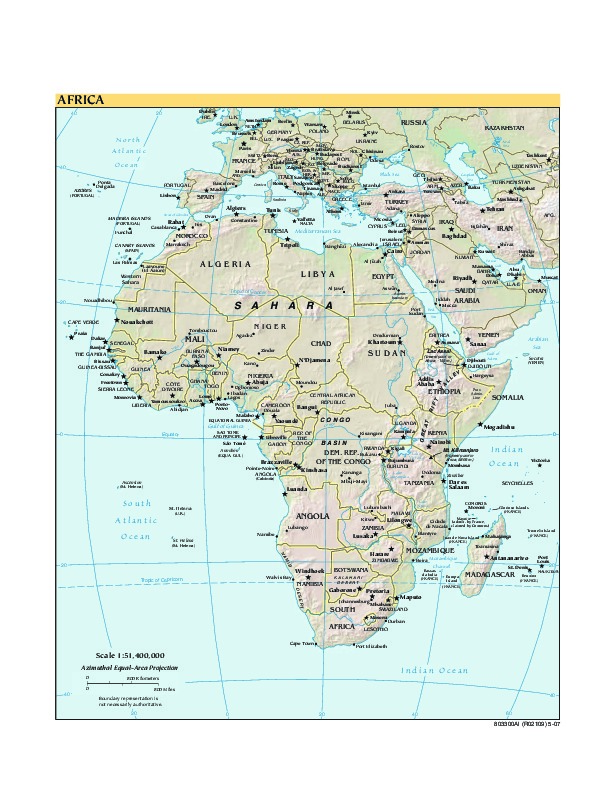 Africa physical map 2007