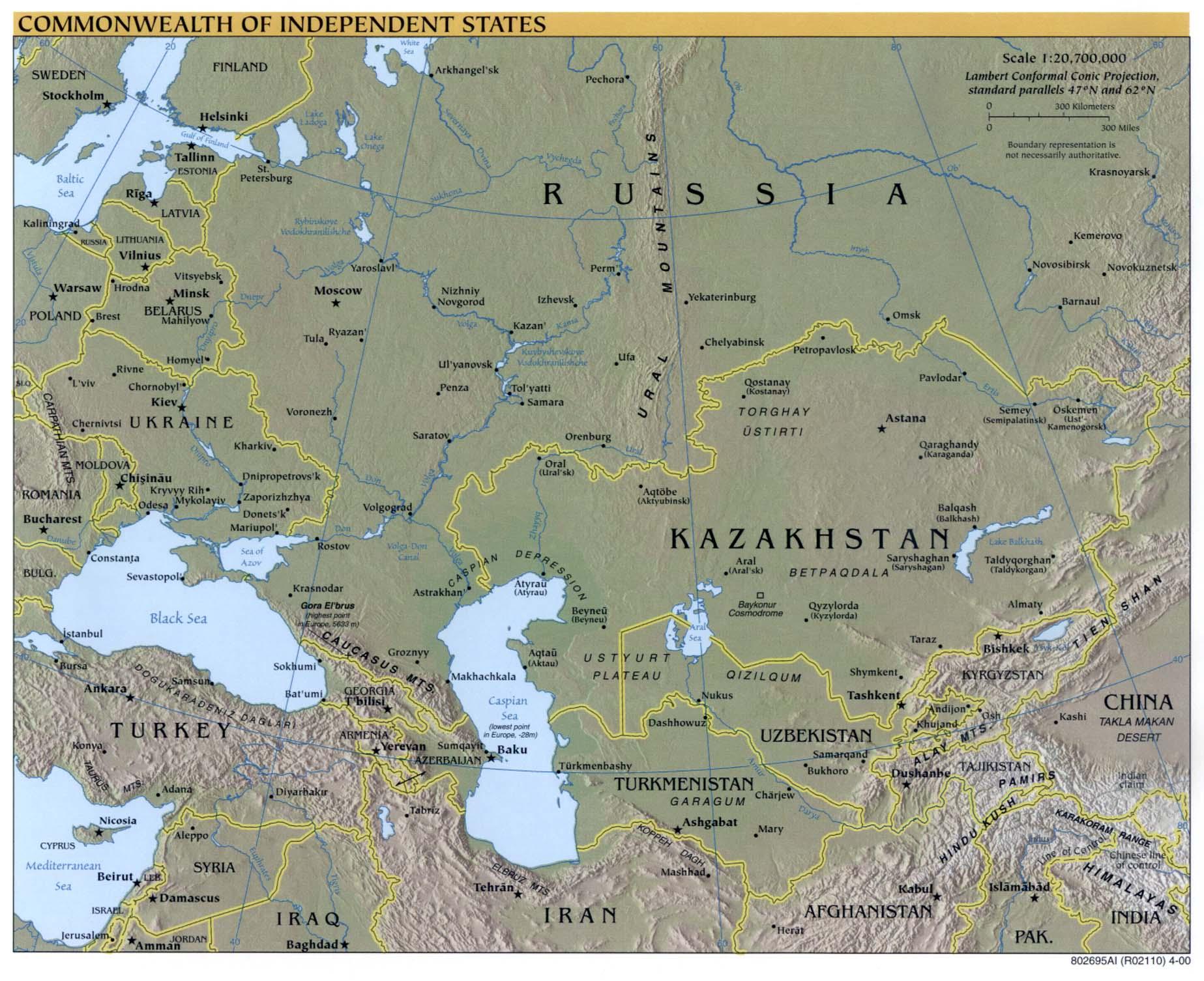 Mapa físico de la Comunidad de Estados Independientes 2000